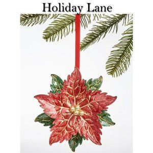 2 Holiday Lane Poinsettia Ornaments NWT